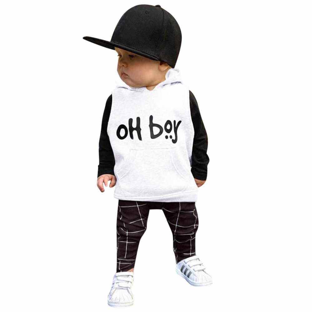 3f664947e MUQGEW Toddler Infant Baby Girls Boys Clothes Set Letter Hooded Tops+Pants  Outfits Set Kid