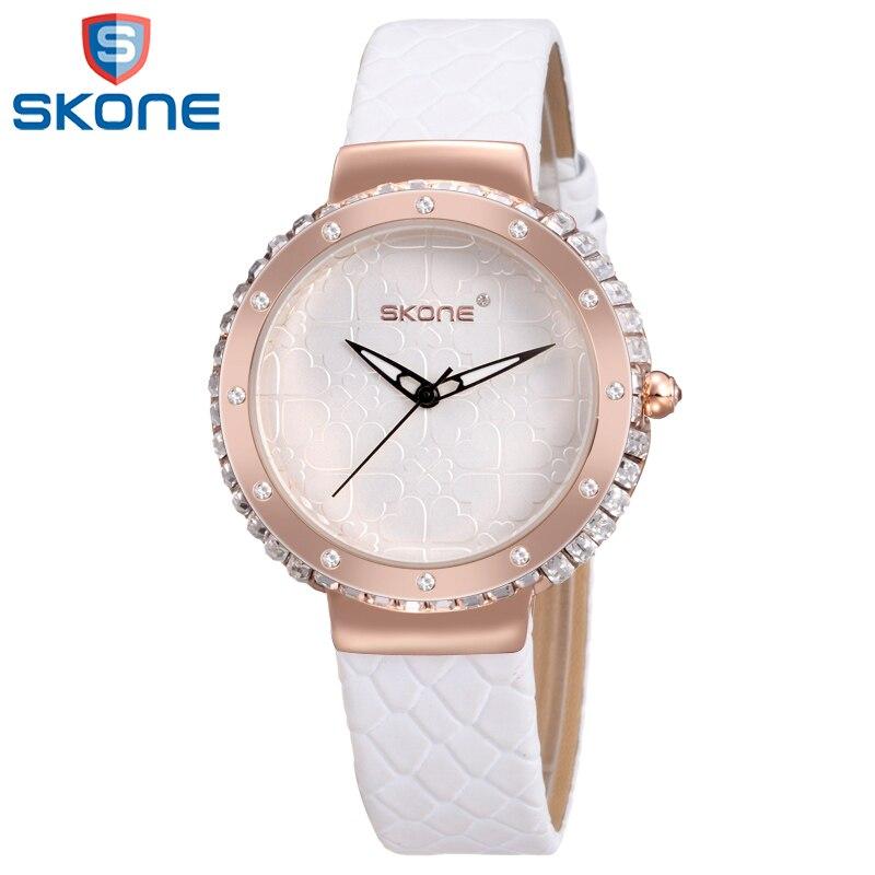 SKONE Colorful Leather Watch for Women Simple Quartz Wristwatch Fashion Crystal Watches for Lady Female skone 7325 women quartz watch