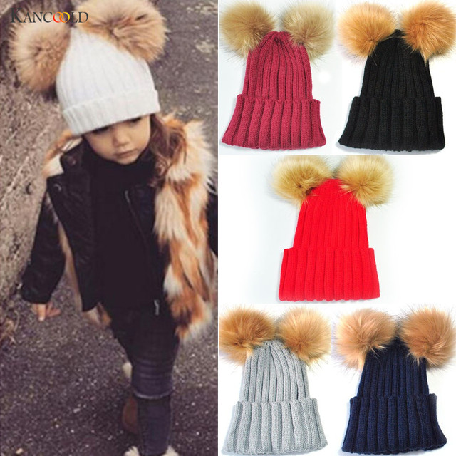 Babywear Hats 2017 Lovely Solid Boys girls beanie hat Children knit Pompons  cap Kids Wear beanie for autumn Cute Hats 1pc AU30 fcb414a87ad