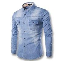 2017 ג 'ינס דנים גברים מקרית זכר חולצות האופנה Slim Fit כושר עם שרוולים ארוכים בתוספת גודל חולצות גברים Camisa Masculina Hombre M-6XL