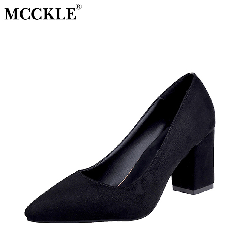 MCCKLE Female Slip On Party Pointed Toe Chunky Heel Flock High Heels Ladies Fashion Black Pumps Women's Casual Plus Size Shoes cicime women s heels thin heel spikes heels solid slip on wedding fashion leisure casual party dressing high heel platform pumps