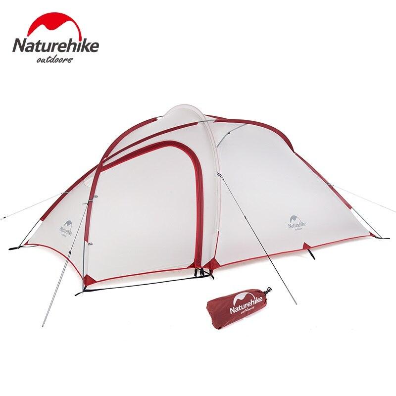 Naturehike Hiby tienda 20D de silicona impermeable de la tela de doble capa 3 persona 4 temporada de la tienda de camping una habitación uno hall