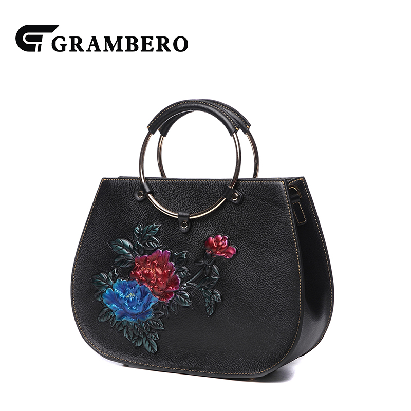 Noble Genuine Leather Women Handle Bag Flower Pattern Top Leather Ring Handle-top Bags Banquet Shoulder Bag for Birthday Gifts fashion relief rose flower pattern handbag pu leather genuine leather zipper ring top handle bag lady party shoulder bags gifts