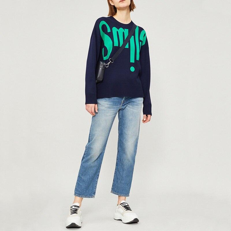 2019 primavera y verano Casual carta Jacquard suéter suelto de manga larga Mujer suéter-in Pulóveres from Ropa de mujer    1