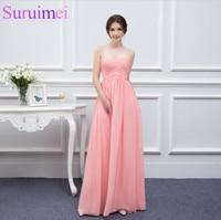 Free Shipping Custom Made Sweetheart A-line Floor Length Pink Chiffon Cheap Bridesmaid Dresses 2017 Maid Of Honor Dresses