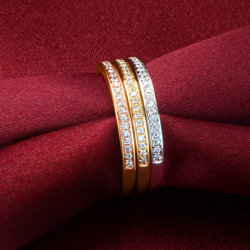 0a42f3be9d3 Three Colors Rings Set Genuine 925 Sterling Silver Rings ROSE Gold   White  Gold   Yellow Gold Color Wedding Band Diamond Ring