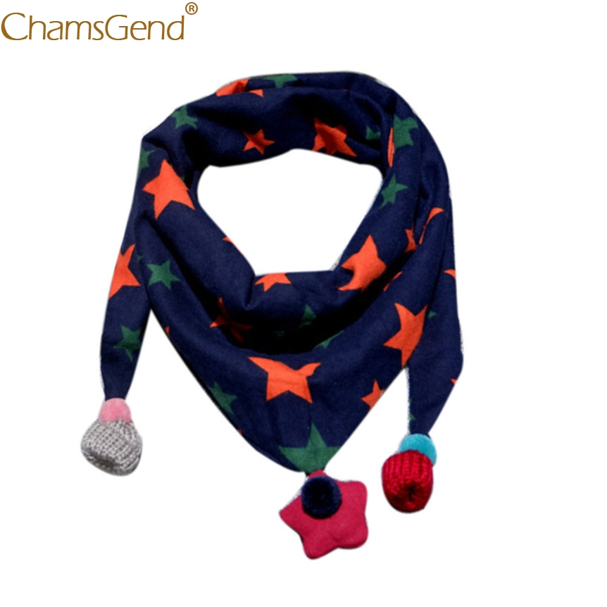 Chamsgend Scarves Kids Scarf Star Printed Neckerchief Boys Girls  Winter Warm Ring Scarves with Pendants 71123