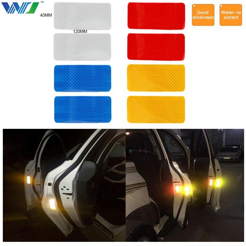 цена на WJ 2Pcs 12X4cm Reflective Warning Strip Tape Car Bumper Reflective Strips Secure Reflector Stickers Decals Car Styling