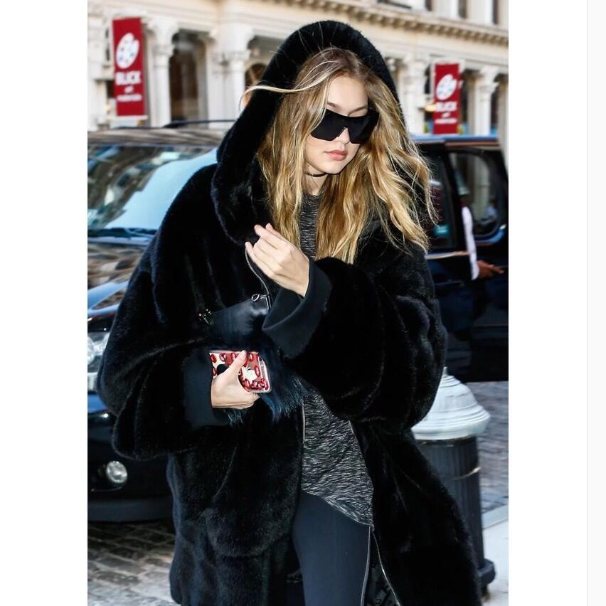 Épaissir Vêtements Mode Fourrure Longue Noir Peluche Imitation gris Femme Automne Lâche Lapin D'hiver Femmes Manteau Et 2018 De Des En Fausse À Capuche 6nRHAO6wq