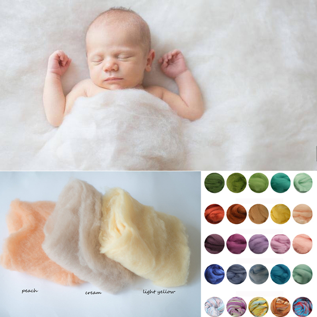 Merino wool felted wrap wool layer roving fluff baby newborn photo prop basket filler fluff photography