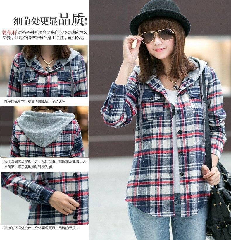 b43833c059d9 Long Sleeve Plaid Shirt Hoodie Flannel 2015 New Autumn Student ...