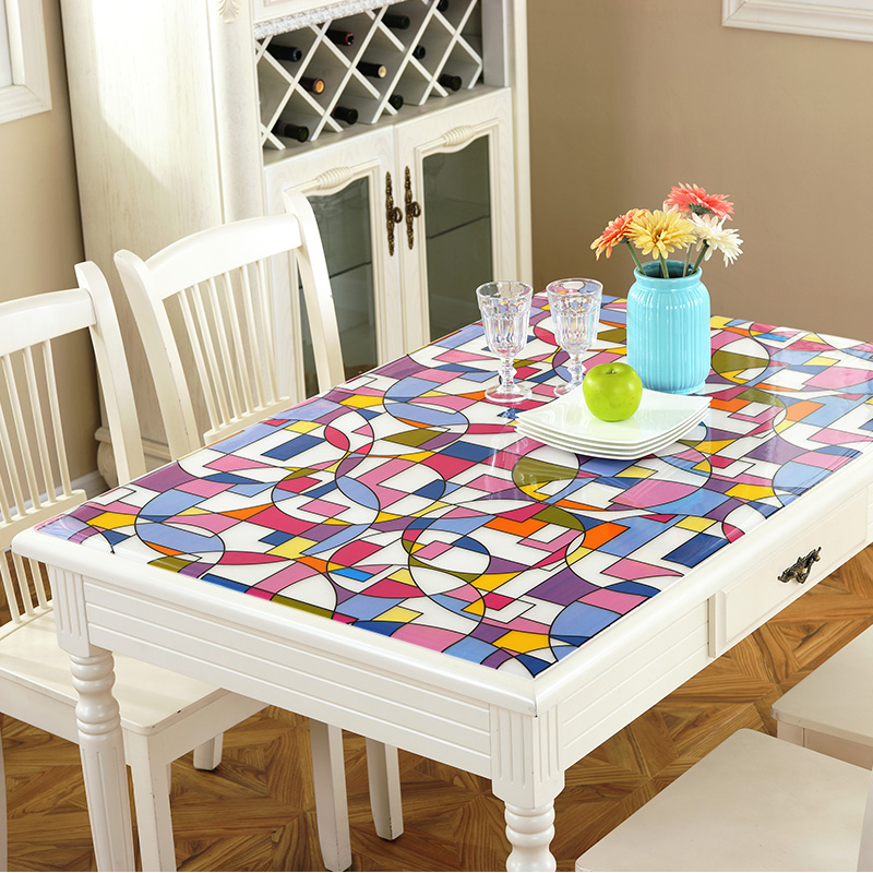 PVC Waterproof Tablecloth Soft Glass Tablecloth Colorful