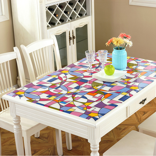 PVC waterproof tablecloth Soft glass tablecloth Colorful circle Frosted mats Coffee table mats Crystal plate 1mm table cover