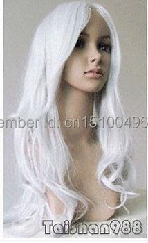 LIBERA LA NAVE>>> Vendita Calda New Sexy Lunga Argento Bianco Wavy Partito di Cosplay delle Donne Parrucca di Capelli Parrucche