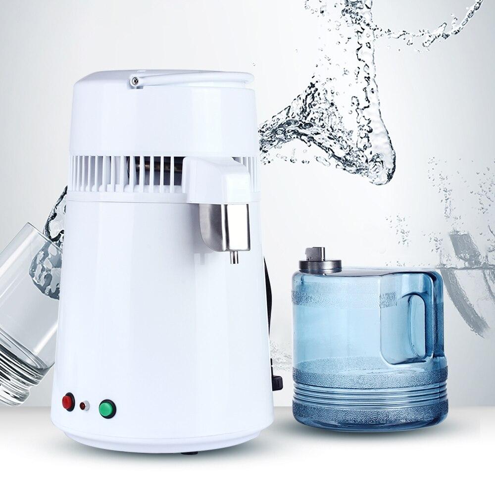 Pure Water Distiller 4L Distilled Water Softener Machine Distillation Purifier Stainless Steel Water Filter Plastic Jug Househol