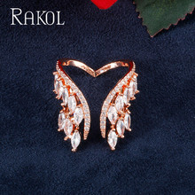 RAKOL Fashion Design Feather Cubic Zircon Rose Gold Color Wing Engagement Open Rings For Bridal Adjustable Opening Pretty