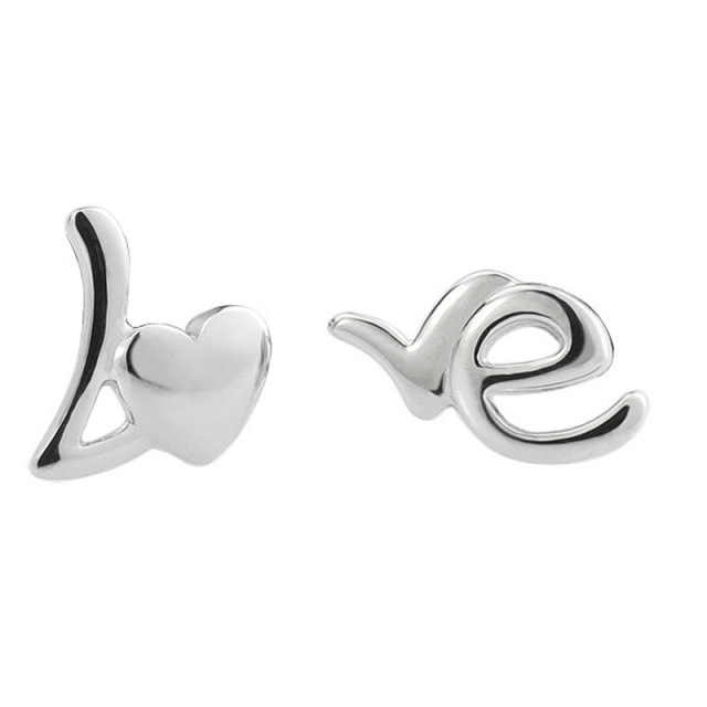 sterling stud earring initial item fine queen jewelry of heart silver zircon letter