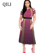 QILI Women Short Sleeve A-Line Dress Striped Print High Waist Mid-Calf Dresses Office Lady Summer Plus Size S-XXL