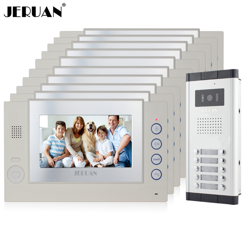 JERUAN Apartment 10 White Doorbell 7 inch Video Door Phone Record Intercom System 1 HD IR Night Vision Camera for 10 Household jeruan new apartment 7 inch touch key video intercom door phone system 2 white monitor 1 hd ir camera for 2 household
