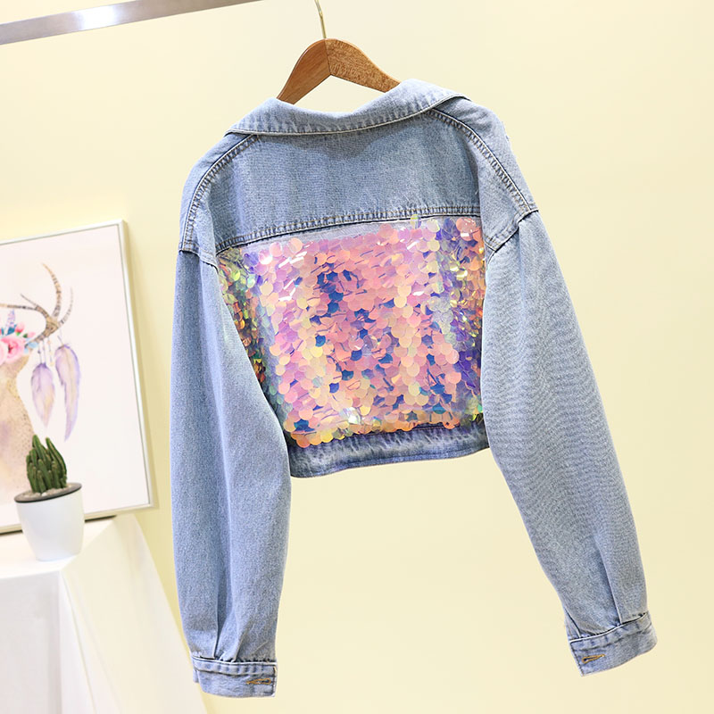 Spring Autumn Short   Jacket   Coat Women's   Basic     Jackets   New Korean Loose High Waist Sequined Studded Jeans   Jackets   Girl Studnts