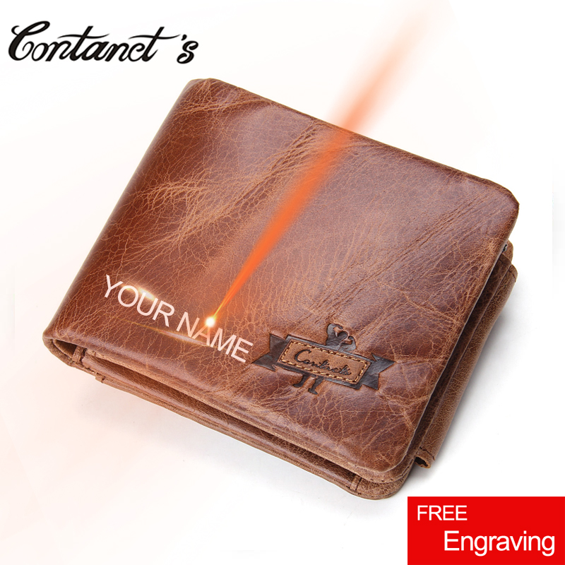 Men's Wallet Genuine Crazy Horse Leather Trifold Design Organizer Wallets Multifunctio Zipper Coin Pocket Purse And Card Holders