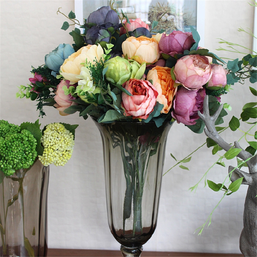 Online get cheap peony silk flower bouquet aliexpress artificial peony bouquet wedding flowers artificial peonies silk flower bouquet fake rose decorative flower home party dhlflorist Images