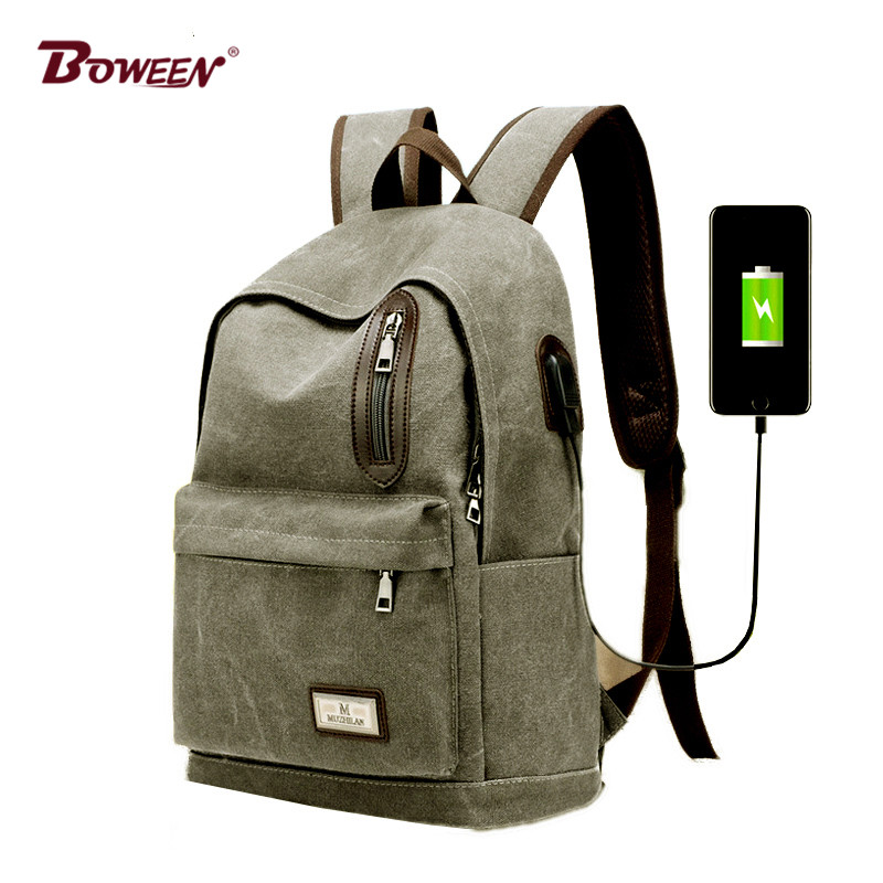 USB Canvas Backpack Men Schoolbag vintage Laptop Back pack Male black Teenagers School Bag for Boy College Book Bag Preppy Style teens canvas boy school bags for teenage girls backpack schoolbag women usb student bags men black book bag for teenagers