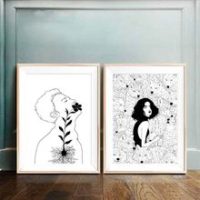 Canvas Prints Nordic Black And White Pictures Flower Figure Poster Living Room Decor Abstract Painting Home Background Wall Art(China)