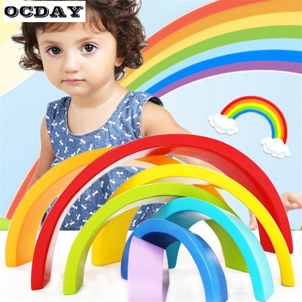 OCDAY 7pcs Eco-friendly Wooden Children Building Blocks Rainbow Toy Baby Early Education Montessori Toy Kids Model Building Toys montessori education wooden toys four color game color matching early child kids education learning toys building blocks