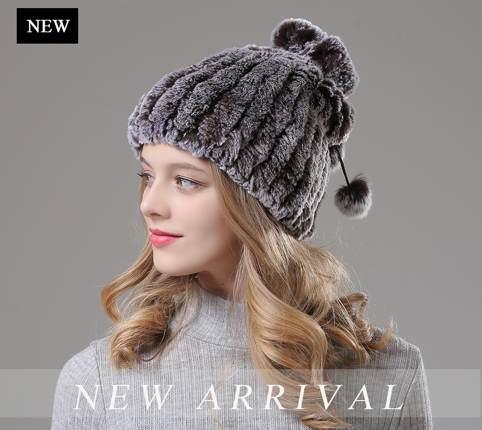 Womens Winter Hats Scarf Knitted Real Rabbit Fur Hat Natural fur Neck Scarf Girls Winter Warm Hat Beanies (1)