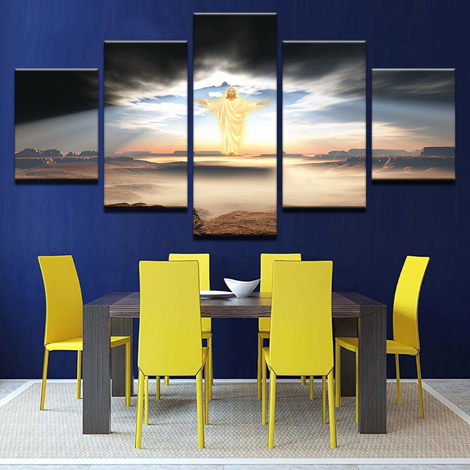 5 Pieces Jesus Is Coming Paintings Religion Pictures Framework ...