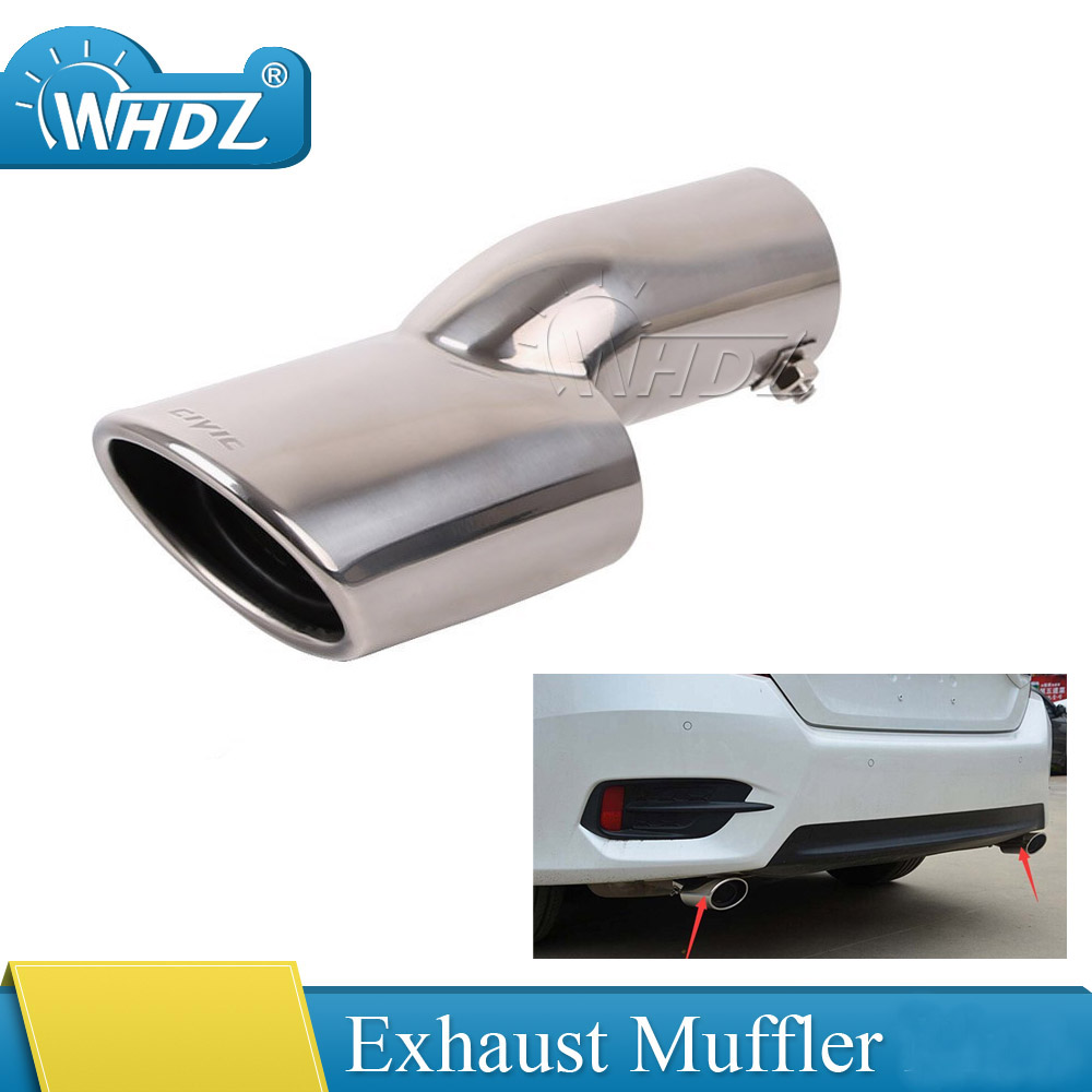 1pc Rear Exhaust Muffler End Tail Pipe Outlet Tips For Honda Civic 10th Gen 2016 2017