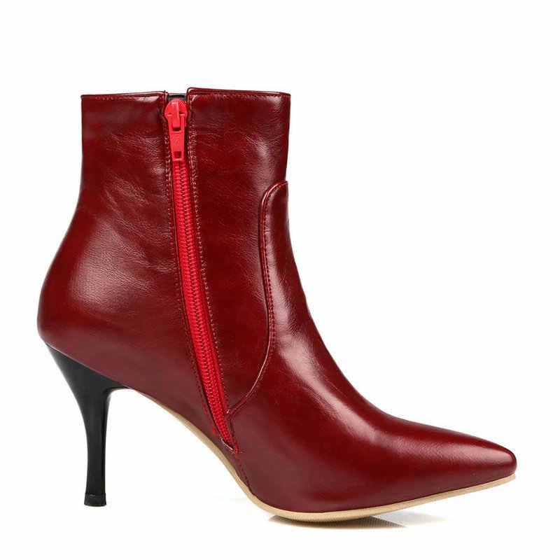 Bayanlar Seksi Ince Yüksek Topuk yarım çizmeler Yan Fermuar Sivri Burun Kış Moda Kadın Ayakkabı Beyaz Şarap Kırmızı Siyah