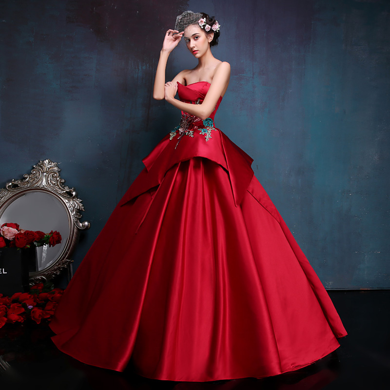 Custom Made Sexy Red Backless Slim Masquerade Dresses Embroidery Strapless High Quality  Stage Performance Party Dress