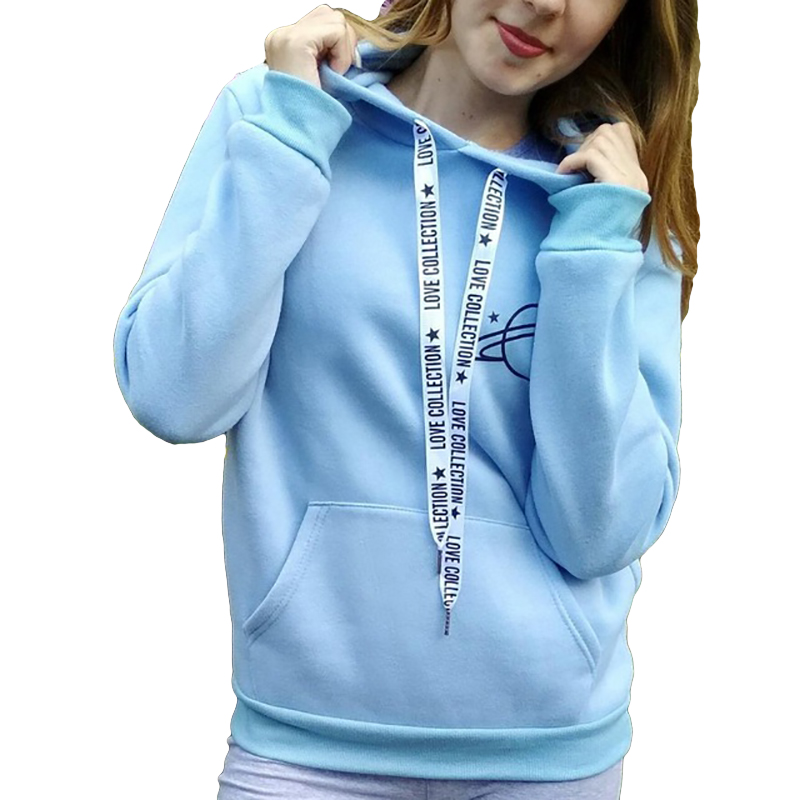2018 New Hoodie Women's Black Large Size Printed Pullover Women's Even Warm Sports Sweatshirts Planet Printing Dropship
