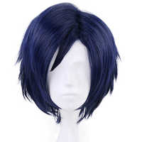 Mój bohater akademia Tenya Iida krótkie proste niebieskie peruka syntetyczna cosplay chłopcy są puszyste Anime peruka na imprezę Halloween
