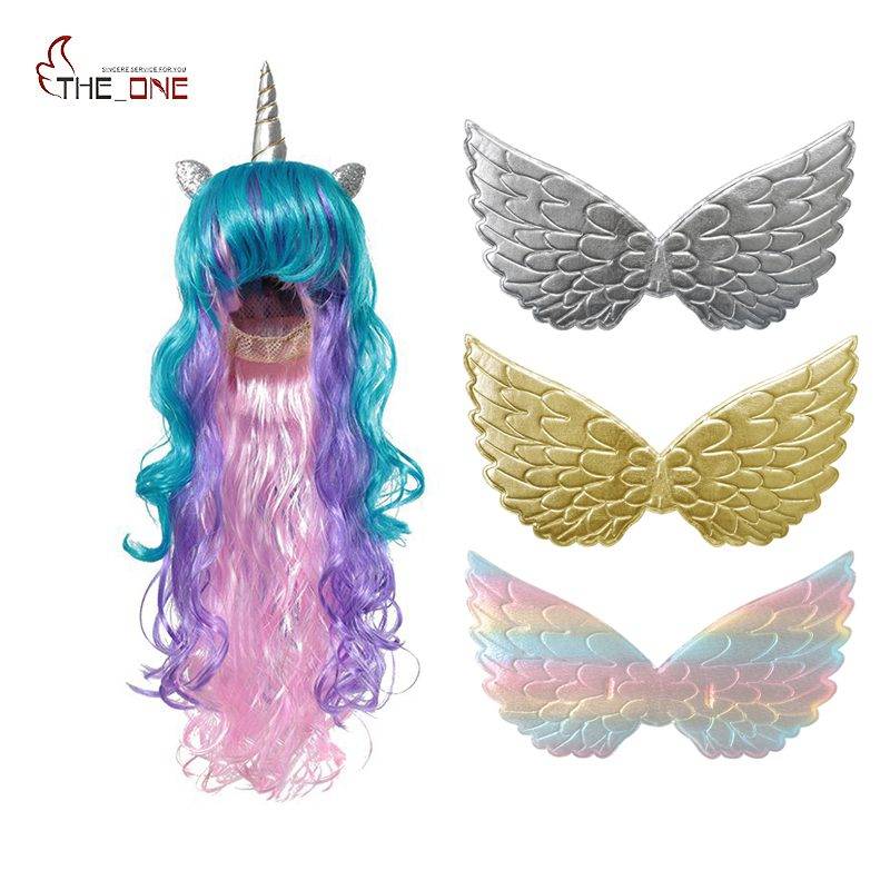 MUABABY Girls Unicorn Wig And Wings Children Princess Accessories Girl Cosplay Photography Props Kids Birthday Party Supply