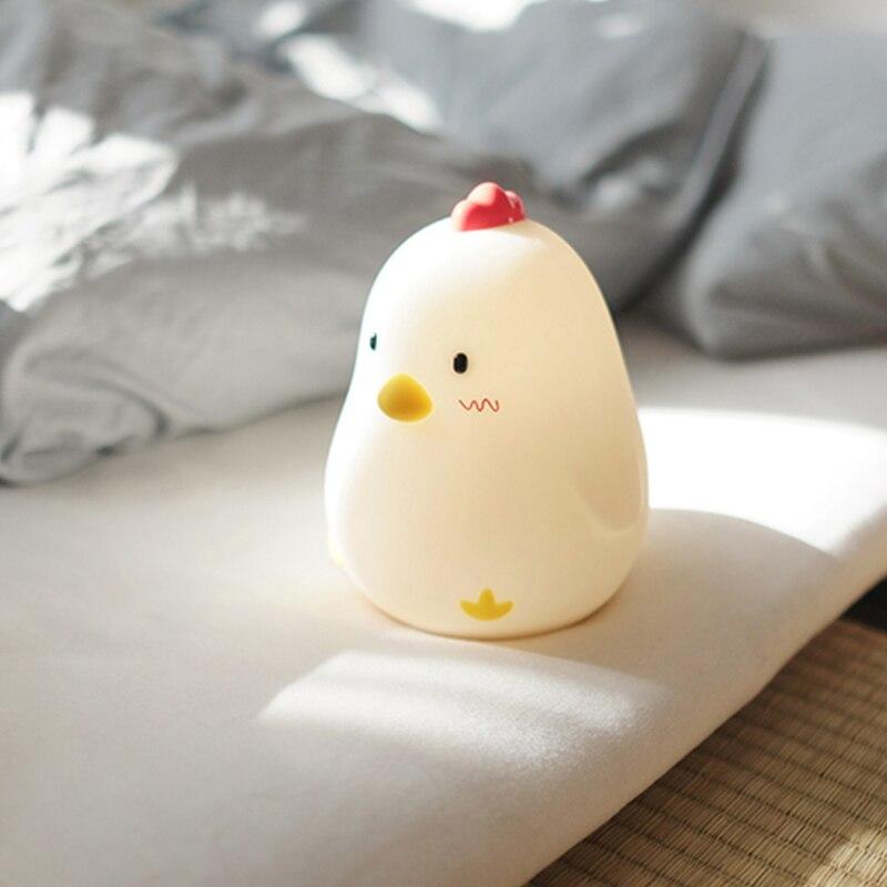 Touch Sensing Digital Show Luminous Electronic Alarm Clock Creative Silent Snooze Sleeping Timer Night Light Chicken WITFAMILY