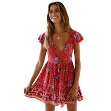 liva girl Mini Boho Floral Dress Summer Beach Short Sleeve V neck Evening Party bohemian beach dress 2019 style