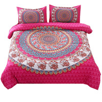 Bed in a Bag Bedding Set Queen Elephant Print Duvet Cover Set USA Size Mandala Pattern Red Bedspread