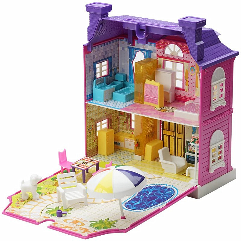 Abbyfrank Musical Dollhouse Set With Plastic Furniture Cute Sounding