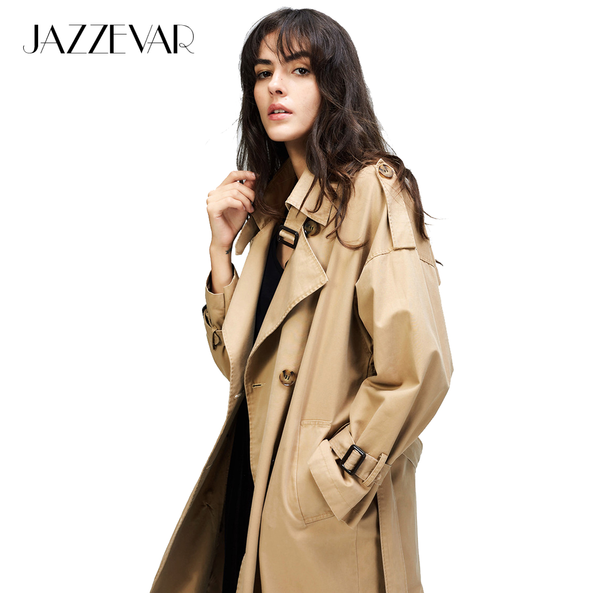 JAZZEVAR 2019 Outono Nova das Mulheres trench coat Casual oversize Double Breasted Outwear Roupas Soltas Do Vintage Lavado