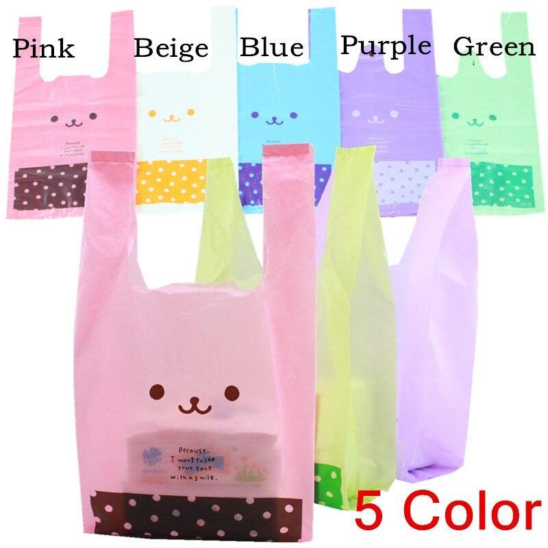 27*45cm Cartoon Smile Polka Dot Tote Shopping Vest Plastic Handbag / Merchandise Bag / Grocery Bag / Opp Maga Bag