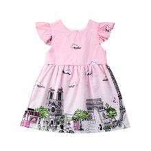 Toddler Baby Kids Girls Paris French City Print Summer Party Ruffled Sleeve  Wedding Dress Sundress( 5b29bc373e29