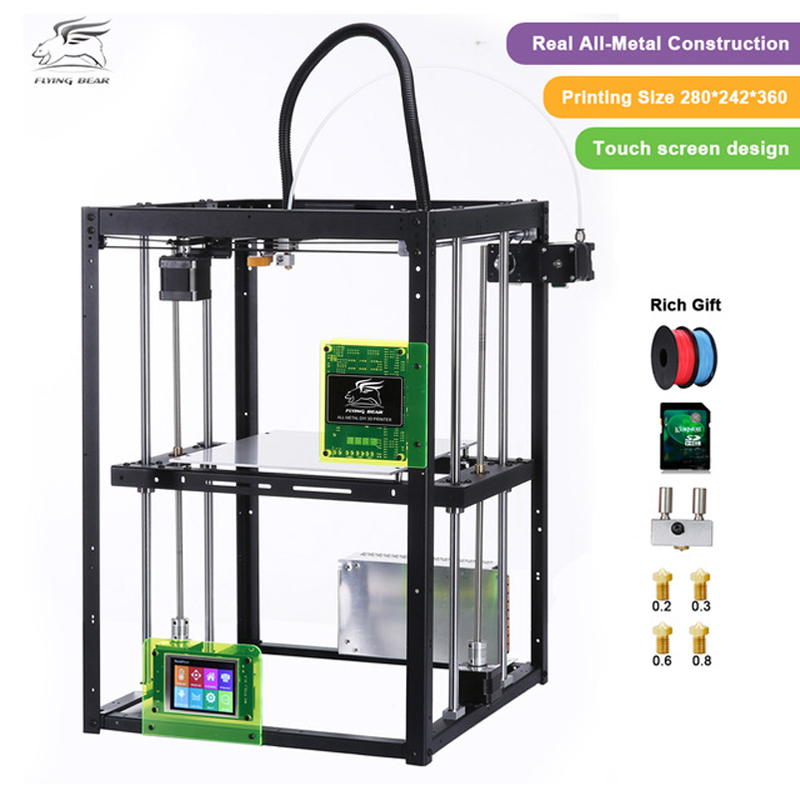 Free shiping Flyingbear P905X DIY 3d Printer kit Full metal Auto leveling Large building area High quality Makerbot Structure free dhl shipping 3d printer linear guide diy kit large printing speed 20 180mm s 3d metal printer support auto leveling