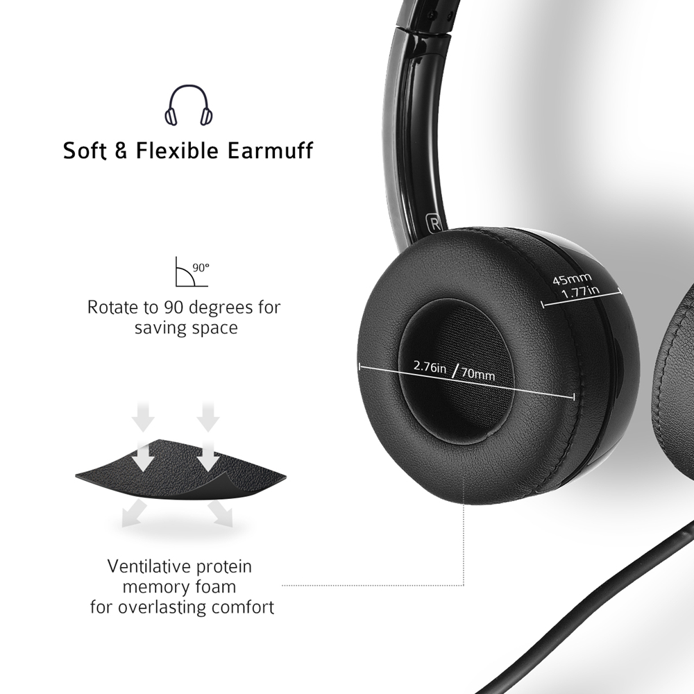 lowest price Mpow PA071 Wired Headsets Crystal Clear Sound With Mic amp In-line Control Wired Headphone for Mac PC Computer Office Skype Calls