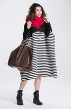 stripe winter plus size long design casual one-piece dress female sweater