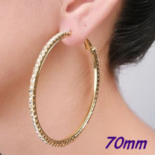 Gold Silver 70mm Single Row Basketball Wives Crystal