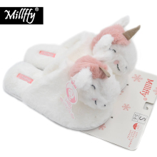 Millffy hot adorable winter new plush animal head unicorn slippers comfy plush rabbit indoor home slippers