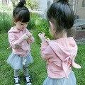 2016 новая коллекция весна и осень девочка мило пальто девушки пальто хлопка детские уши кролика свитер кардиган Бесплатная доставка 1-3 лет